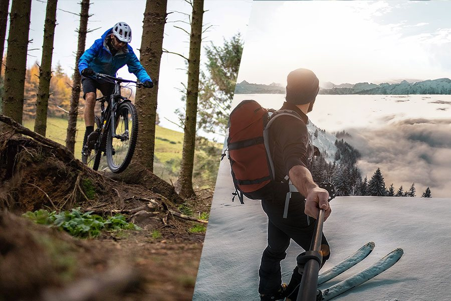 Skiing and Mountain Biking